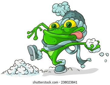 Frog playing snowballs