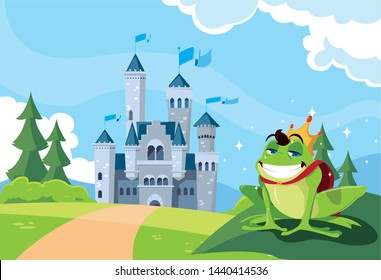 frog prince with castle fairytale in mountainous landscape
