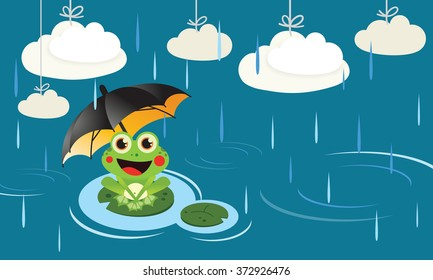 Frog in the rain with umbrella Cute Vector Child illustration