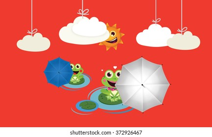 Frog with red and black umbrella in summer Vector Child illustration