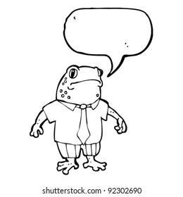 frog in shirt and tie cartoon with speech bubble