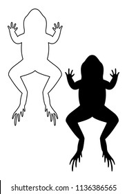 Frog silhouette. Frog on white background. Vector illustration.