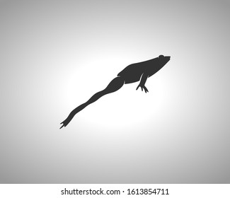Frog Silhouette on White Background. Isolated Vector Animal Template for Logo Company, Icon, Symbol etc