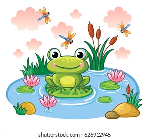 The frog sits on a leaf in the pond. Vector illustration in children`s style. Lake with insects and animals.