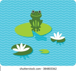 A frog sitting on lily pad on the lake. vector illustration.