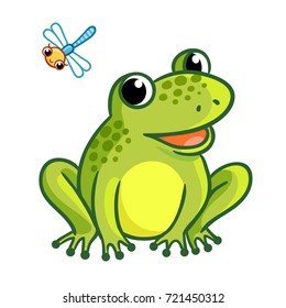 A frog is sitting on a white background. Isolated illustration with dragonfly and frog in a cartoon style.