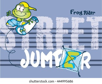 frog skater cartoon.Print design for kids T-shirt