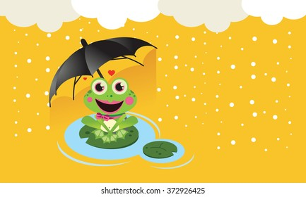 Frog in the snow with umbrella Cute Vector Child illustration with frog in the snow