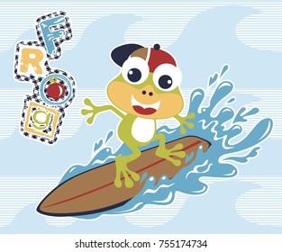 frog the surfer, vector cartoon illustration