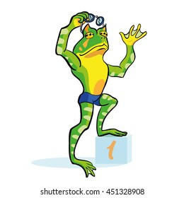 Frog swimmer stands on a winner cube. Number one athlete in a blue swimming trunks. Cartoon character toad.