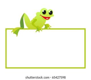 frog take banner on white background