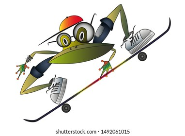 Frog teenager with glasses riding skateboard. Cartoon character. Vector illustration
