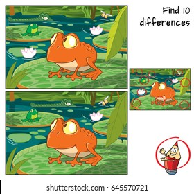 Frog in the tropical swamp. Find 10 differences. Educational game for children. Cartoon vector illustration.