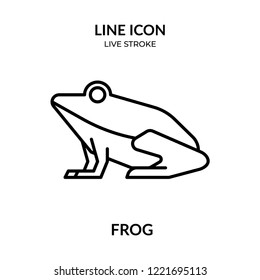 frog vector, animal line icon with live stroke,  Flat design