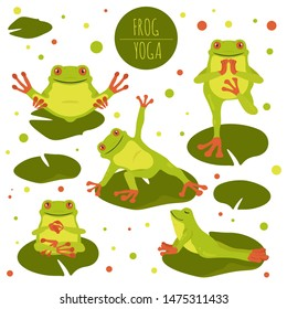 Frog yoga poses and exercises. Cute cartoon clipart set. Vector illustration