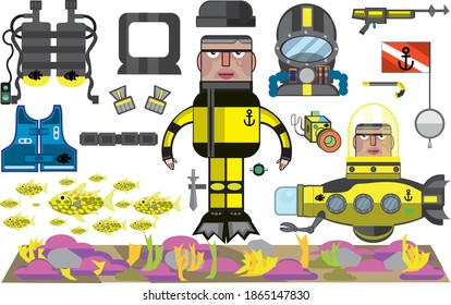 Frogman diver paper doll make your own scene graphic resource