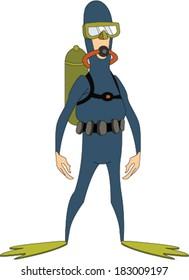 Frogman Wearing Scuba Gear