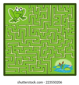 Frog's Maze Game (help the Frog to find his Pond - Maze vector puzzle)