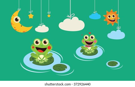 Frogs night and day Cute Vector Child illustration with frogs night and day