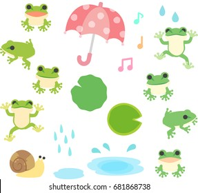 Frogs and rain illustration set