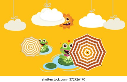 Frogs with umbrella in summer Vector Child illustration