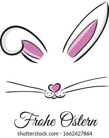 Frohe Ostern. Easter bunny cute vector illustration drawn by hand. Bunny face, ears and tiny muzzle with whiskers isolated on white background. Happy Easter greeting card
