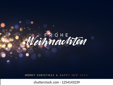 Frohe Weihnachten. Christmas background with blue lights bokeh. Xmas greeting card. Magic holiday poster, banner. Night bright golden sparkles