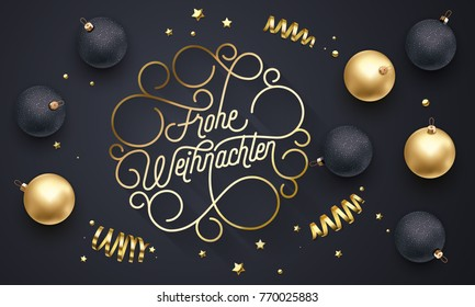 Frohe Weihnachten German Merry Christmas flourish golden calligraphy lettering of swash gold typography greeting card design. Vector golden decoration and Christmas text on holiday black background