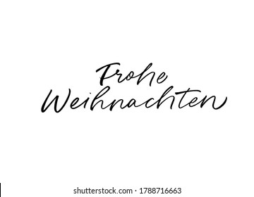 Frohe Weihnachten hand drawn calligraphy in German. Merry Christmas black brush lettering isolated on white background. Christmas holiday quote, vector text for greeting card, banner, posters.