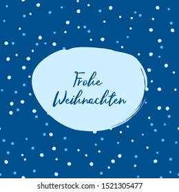 Frohe Weihnachten Merry Christmas German text illustration with falling doodle, hand drawn snow and snowflakes.