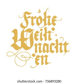 Frohe Weihnachten, Merry Christmas in german, vintage style lettering, golden on white