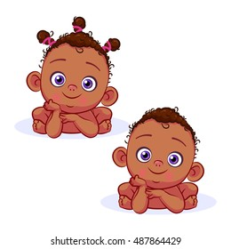 Front african baby girl and baby boy lie on his stomach, leaning on his hands. Cartoon kids vector Illustration.