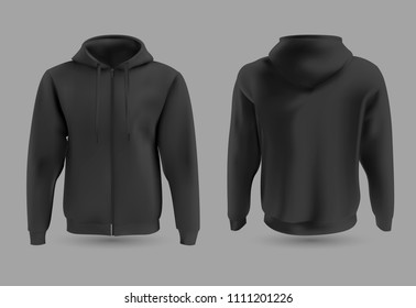 Front and back black hoodie vector template. Sweatshirt fashion with hoodie for sport and urban style illustration.