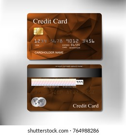 front and back brown texture realistic credit card of business and banking with vector illustration design eps10