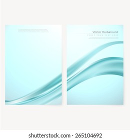 Front and back business flyer template, blank with transparent strip, waves