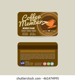 Front And Back Coffee Voucher Of Member Card Template Vector Illustration