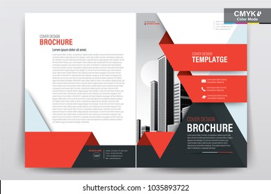 Front and back cover of a modern business brochure layout or flyer template, poster, magazine, annual report, book, booklet with red and black and building image. Size A4 CMYK Vector illustration