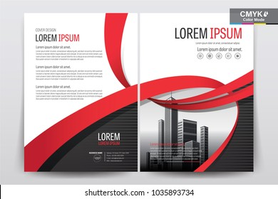 Front and back cover of a modern business brochure layout or flyer template, poster, magazine, annual report, book, booklet with red ribbon and building image. Size A4 CMYK Vector illustration