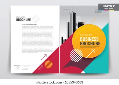 Front and back cover of a modern business brochure layout or flyer template, poster, magazine, annual report, book, booklet with red yellow green and building image. Size A4 CMYK Vector illustration