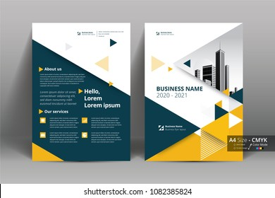 Front and back cover of a modern business brochure layout or flyer template, poster, magazine, annual report, book, booklet with red and blue triangle. in size A4 CMYK Vector illustration