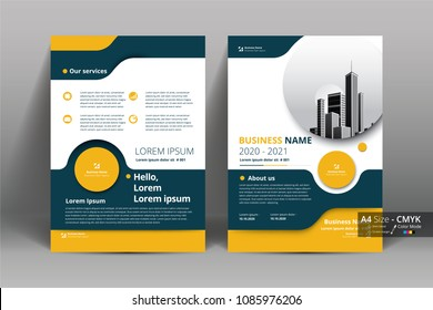Front and back cover of a modern business brochure layout or flyer template, poster, magazine, annual report, book, booklet with yellow circular and building image. Size A4 CMYK Vector illustration