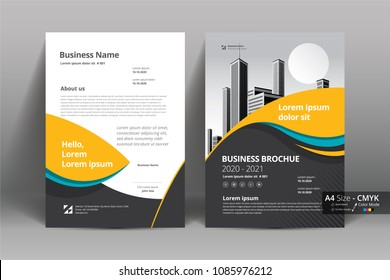 Front and back cover of a modern business brochure layout or flyer template, poster, magazine, annual report, book, booklet with yellow blue and building image. Size A4 CMYK Vector illustration