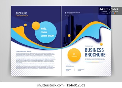Front and back cover of a modern business brochure layout or flyer template, poster, magazine, annual report, book, booklet with violet, blue and yellow circle design. Size A4 CMYK Vector illustration