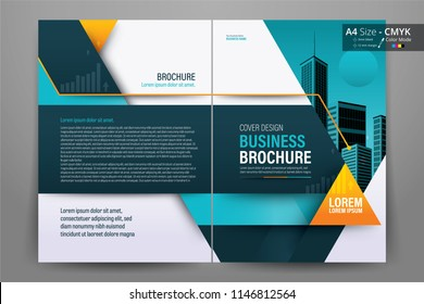Front and back cover of a modern business brochure layout or flyer template, poster, magazine, annual report, book, booklet with orange and blue geometric design. Size A4 CMYK Vector illustration