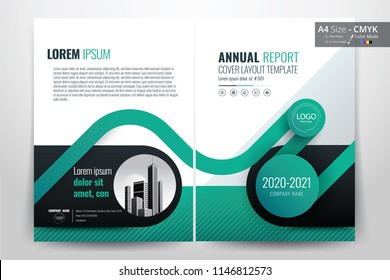 Front and back cover of a modern business brochure layout or flyer template, poster, magazine, annual report, book, booklet with green circle design. Size A4 CMYK Vector illustration