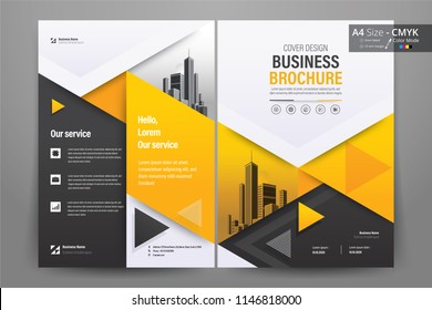 Front and back cover of a modern business brochure layout or flyer template, poster, magazine, annual report, book, booklet with yellow triangle and gray design. Size A4 CMYK Vector illustration