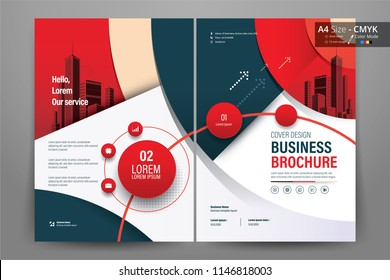 Front and back cover of a modern business brochure layout or flyer template, poster, magazine, annual report, book, booklet with red circle and gray design. Size A4 CMYK Vector illustration