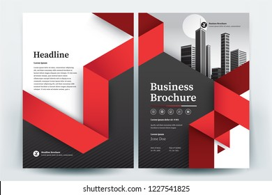 Front and back cover of a modern business brochure layout or flyer template, poster, magazine, annual report, book, booklet with red triangle design. Size A4 CMYK Vector illustration