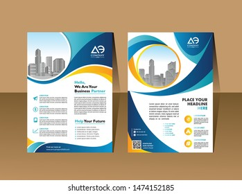 Front and back cover of a modern business brochure layout or flyer template, poster, magazine, annual report
