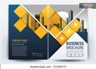 Front and back cover of a modern business brochure layout or flyer template, poster, magazine, annual report, book, booklet with dark blue and yellow square accents and building photo. Size A4 Vector